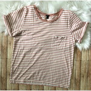 J. Crew Stripe Rolled Sleeve Pocket T-Shirt Size M
